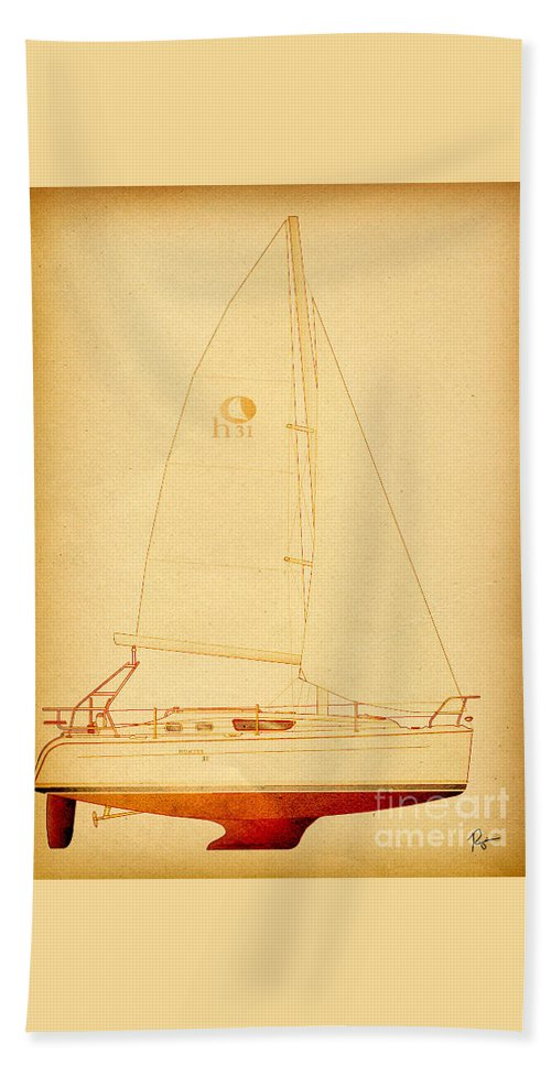 Regina Gallant Beach Towel featuring the drawing Historic H31 by Regina Marie Gallant
