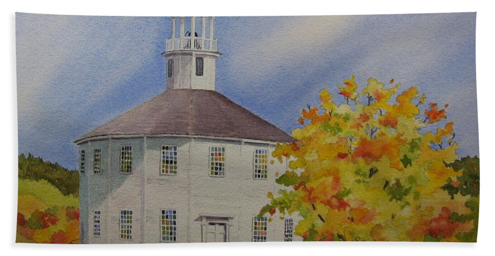 Richmond Beach Towel featuring the painting Historic Richmond Round Church by Mary Ellen Mueller Legault