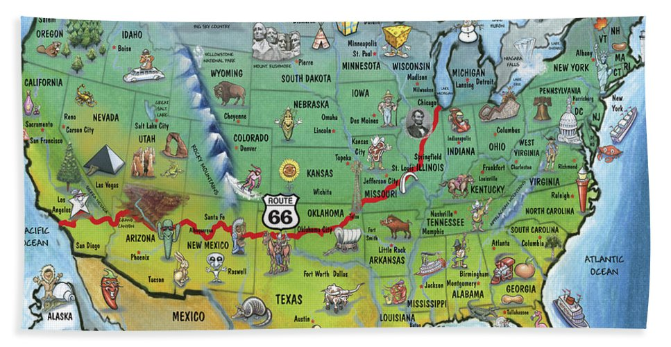 Historic Route 66 California Map.Historic Route 66 Cartoon Map Beach Towel For Sale By Kevin Middleton