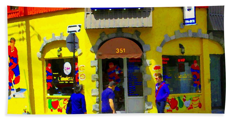 Montreal Beach Towel featuring the painting Hockey Art At Restaurant Chez Claudette Plateau Montreal Sunny Street Scene Carole Spandau by Carole Spandau