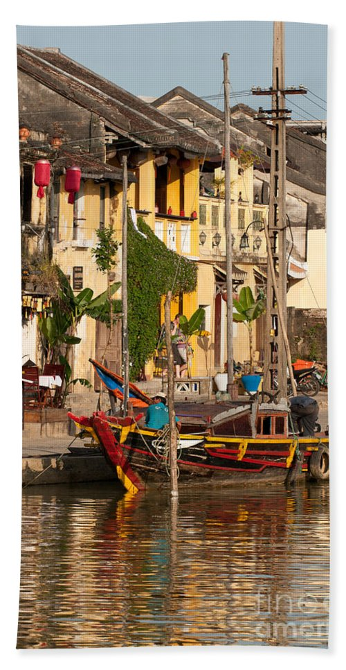 Vietnam Beach Towel featuring the photograph Hoi An Fishing Boat 02 by Rick Piper Photography
