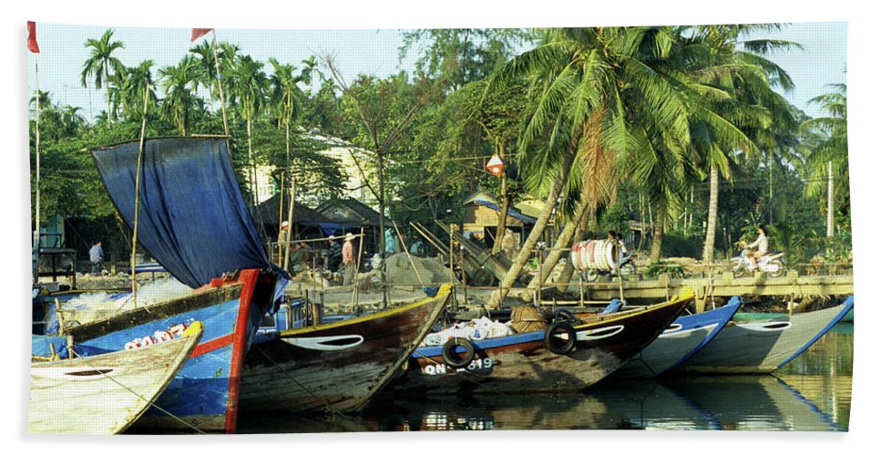 Vietnam Beach Towel featuring the photograph Hoi An Fishing Boats 01 by Rick Piper Photography