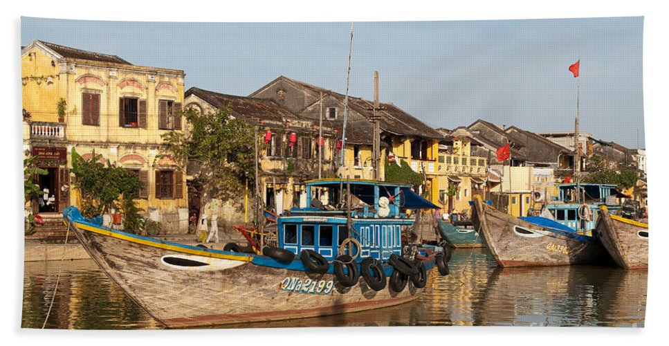 Vietnam Beach Towel featuring the photograph Hoi An Fishing Boats 03 by Rick Piper Photography