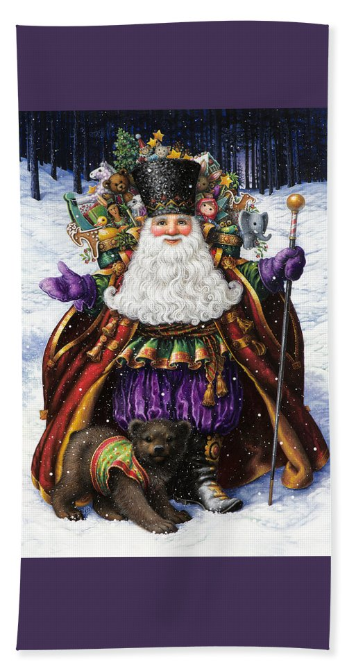 Santa Claus Beach Towel featuring the painting Holiday Riches by Lynn Bywaters