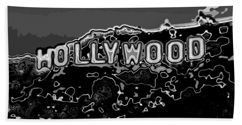 Pop Art Beach Towel Featuring The Photograph Hollywood Sign Abstract Black And White By Eti Reid