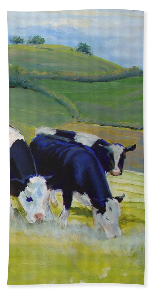 Cow Beach Towel featuring the painting Holstein Friesian Cows by Mike Jory