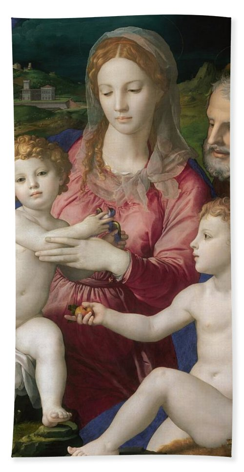 1545-1546 Beach Towel featuring the painting Holy Family With St. Anne And The Infant St. John by Agnolo Bronzino