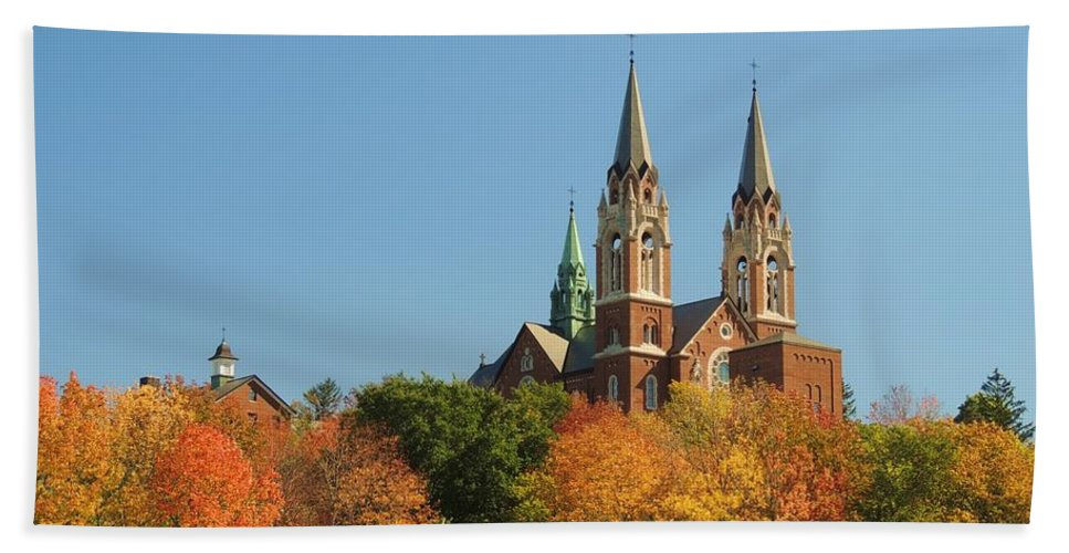 Trees Beach Towel featuring the photograph Holy Hill In Living Color by Red Cross