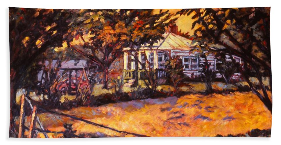 Kendall Kessler Beach Towel featuring the painting Home In Christiansburg by Kendall Kessler