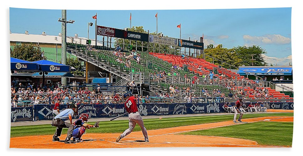 Baseball Beach Towel featuring the photograph Home Run Or Struck Out by Michael Porchik