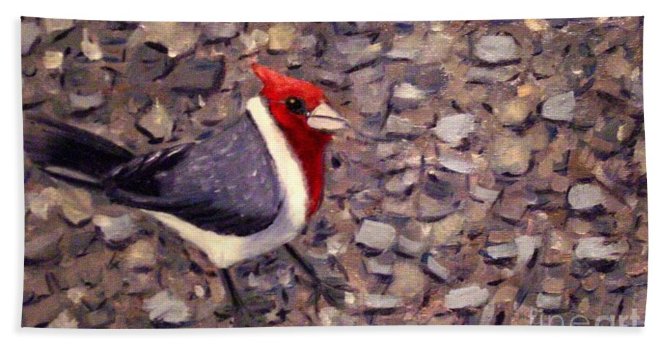 Bird Beach Towel featuring the painting Home Turf by Laurie Morgan
