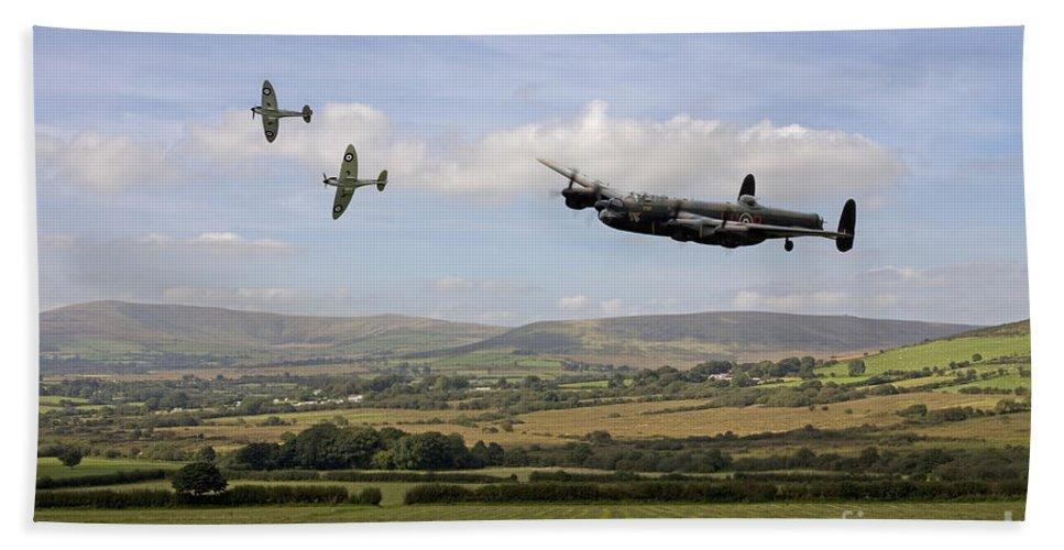 Lancaster Bomber Landing Beach Towel featuring the digital art Homeward Bound by J Biggadike