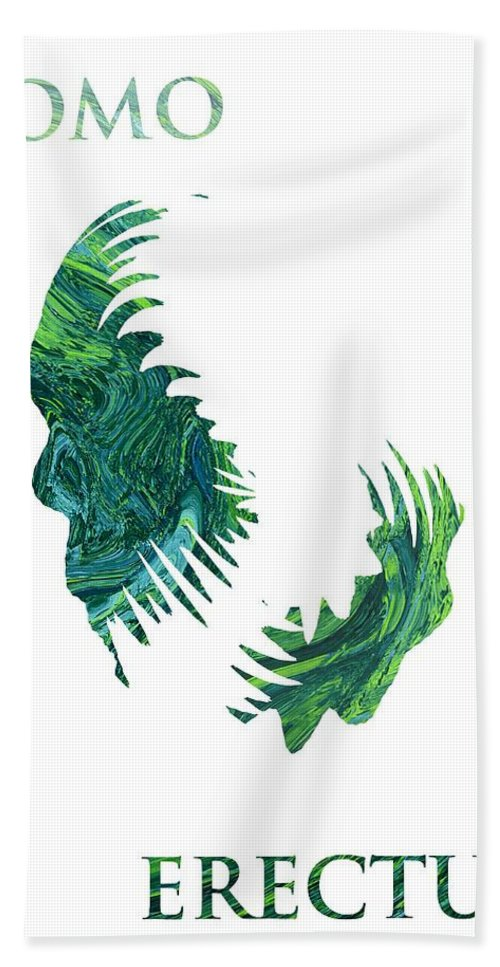Abstract Expressionism Impressionism Homo Erectus Sapiens Manking Human Being Green Nature Trace Traces Painting Beach Towel featuring the painting Homo Erectus 2 by Steve K
