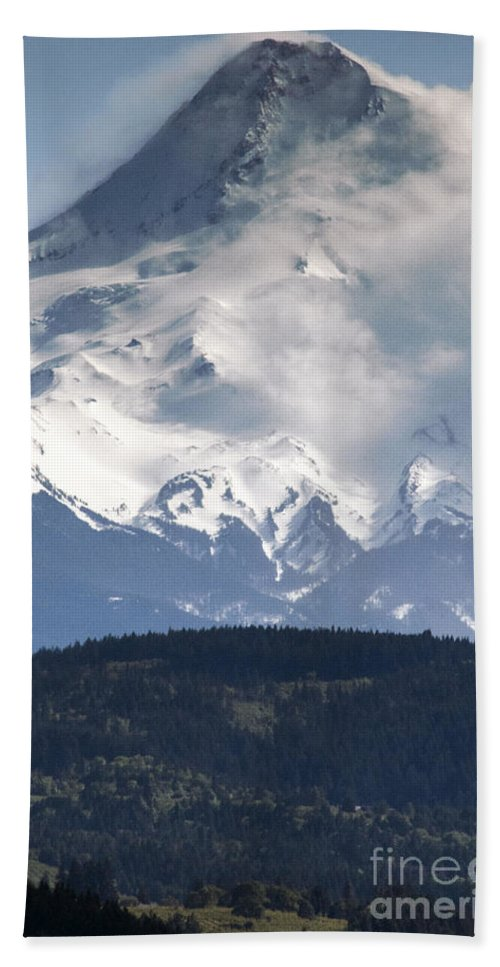 Mt. Hood Oregon Mountain Snow Covered Mountains Cloud Clouds Landscape Tree Trees Landscapes Snowscape Snowscapes Beach Towel featuring the photograph Hooded Hood by Bob Phillips