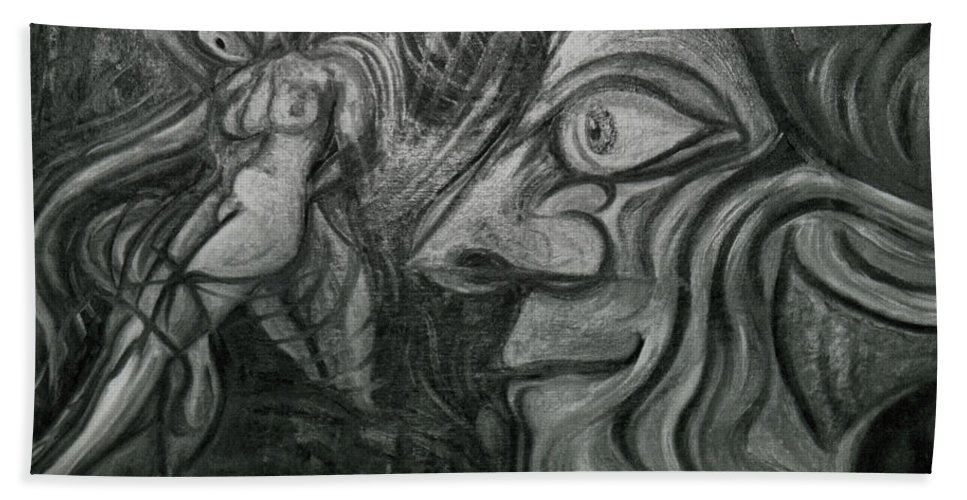 Genio Beach Towel featuring the painting Horny Hunter by Genio GgXpress