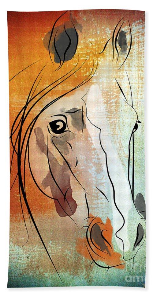 Horse Beach Towel featuring the digital art Horse 3 by Mark Ashkenazi