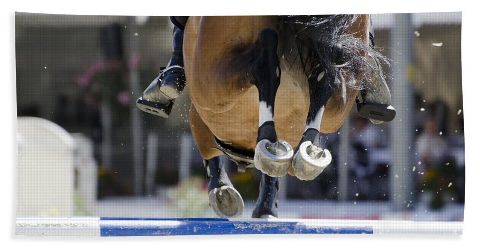 Horse Beach Towel featuring the photograph Horse Jumping by Mats Silvan