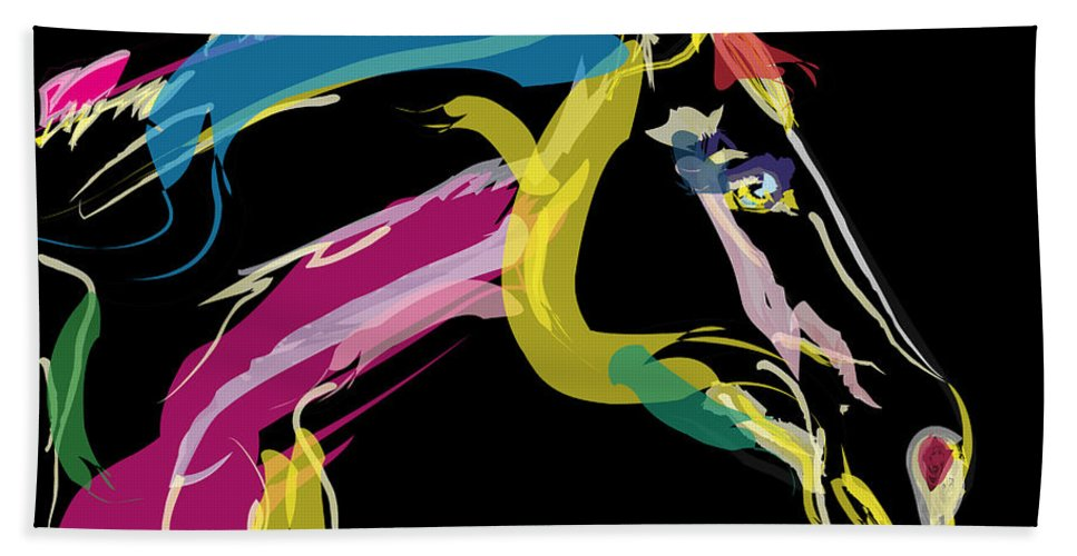 Horse Portrait Beach Towel featuring the painting Horse- Lovely Colours by Go Van Kampen