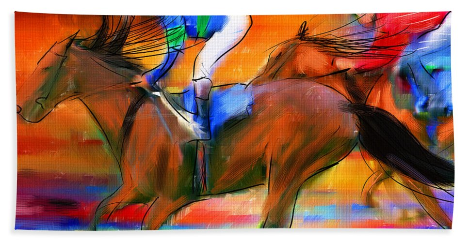 Horse Racing Beach Towel featuring the digital art Horse Racing II by Lourry Legarde