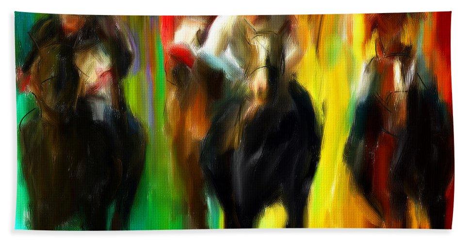 Horse Racing Beach Towel featuring the digital art Horse Racing IIi by Lourry Legarde