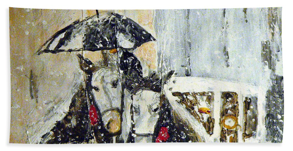 Horses Beach Towel featuring the painting Horses At Stephansdom by Michael Tokarski