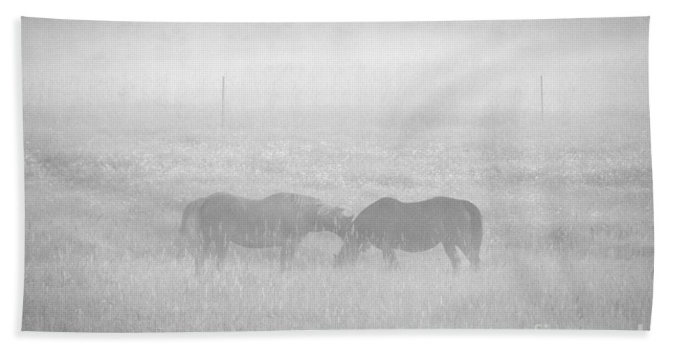 Landscape Beach Towel featuring the photograph Horses In The Fog by Cheryl Baxter