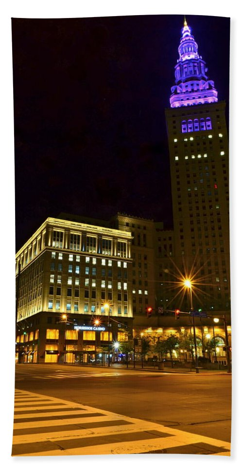 Casino Beach Towel featuring the photograph Horseshoe Casino Cleveland by Frozen in Time Fine Art Photography