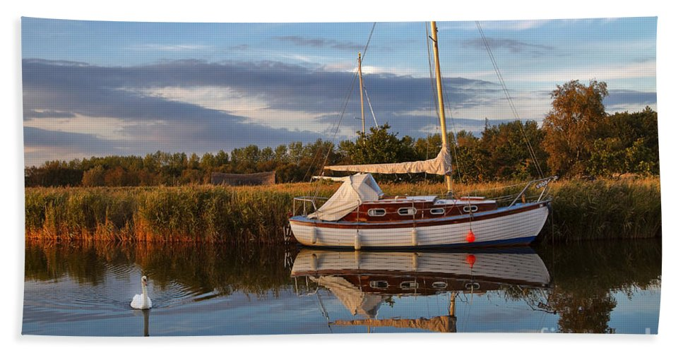 Travel Beach Towel featuring the photograph Horsey Mere In Evening Light by Louise Heusinkveld