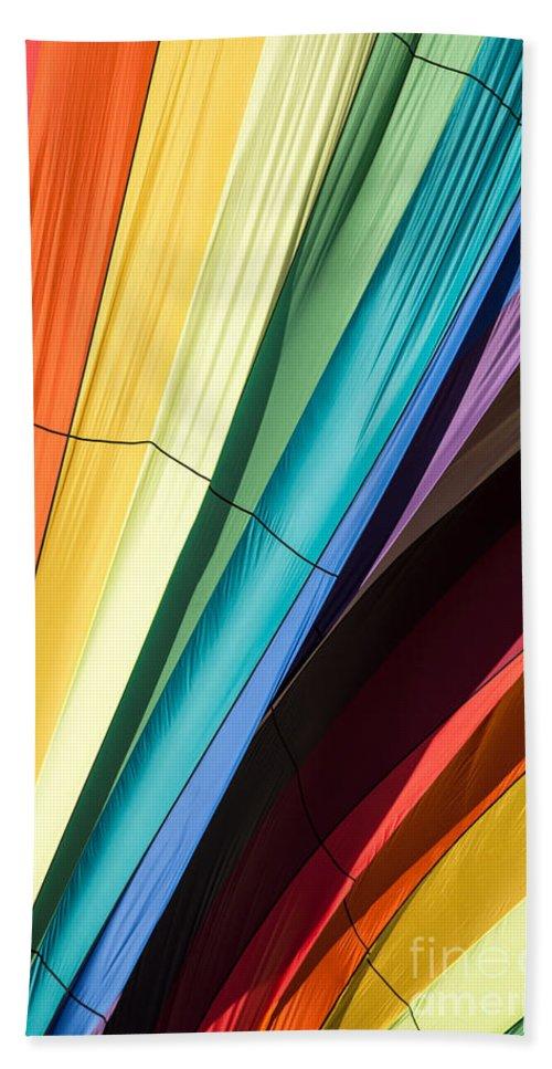 Edward Fielding Beach Towel featuring the photograph Hot Air Balloon Rainbow by Edward Fielding