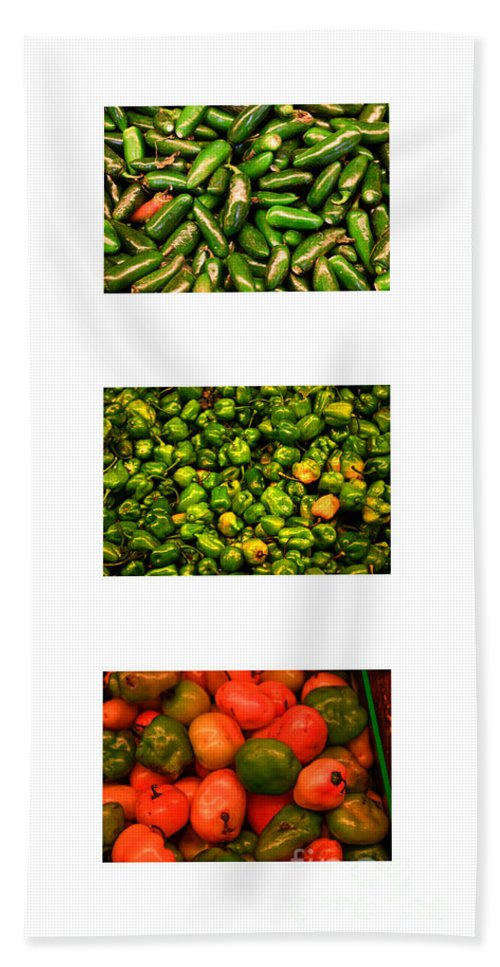 Peppers Beach Towel featuring the photograph Hot Pepper Collage by Thomas Marchessault