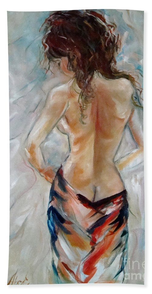 Contemporary Art Beach Towel featuring the painting Hot Summer by Silvana Abel