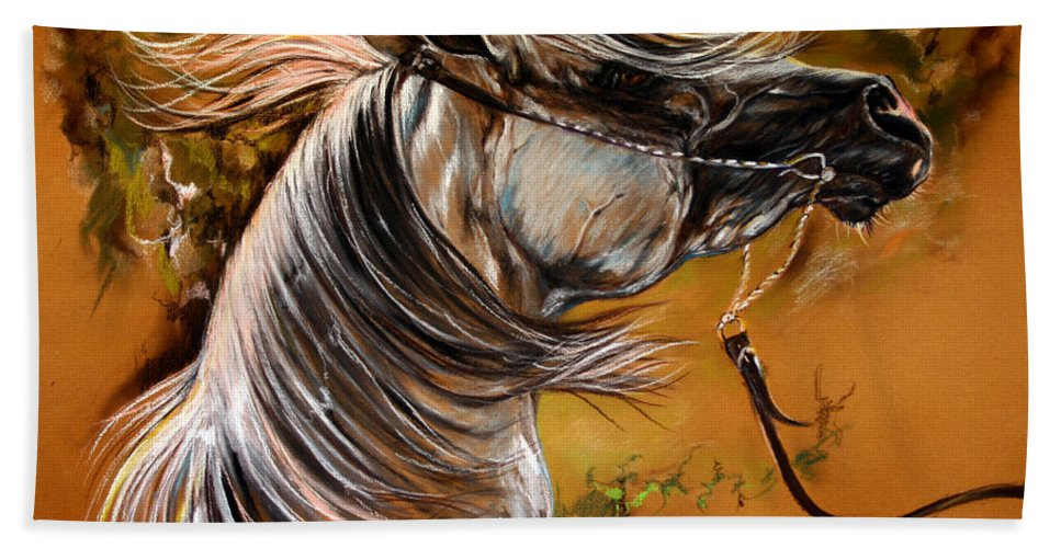 Horse Beach Towel featuring the drawing Hot Temper by Angel Ciesniarska