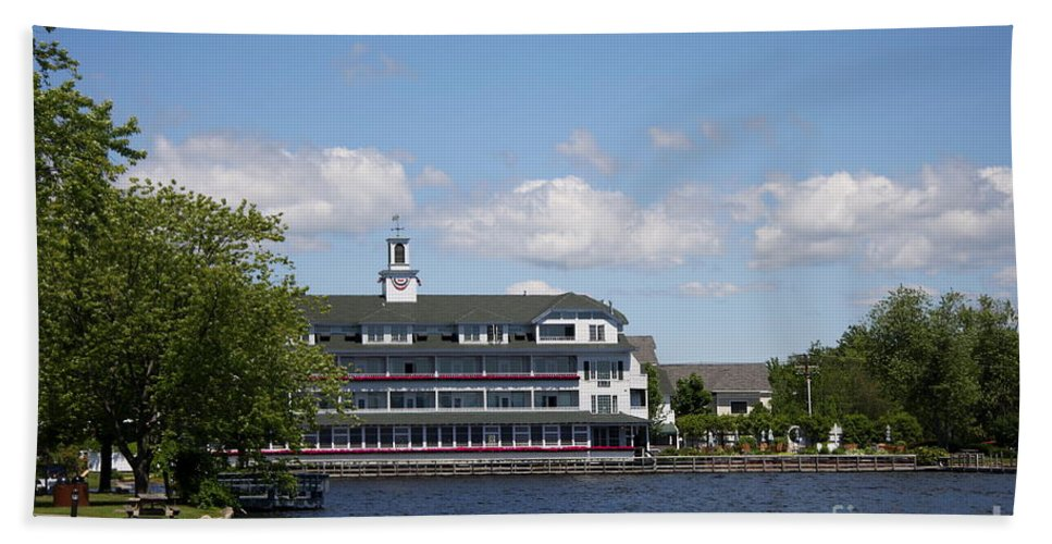 Lake Beach Towel featuring the photograph Hotel At Lake Winnipesaukee by Christiane Schulze Art And Photography