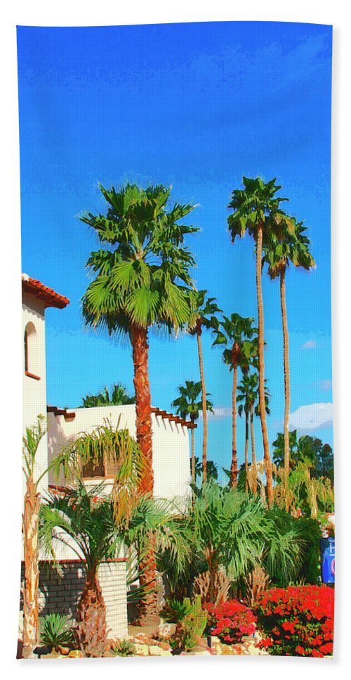 Hotel California Beach Towel featuring the photograph Hotel California Palm Springs by William Dey