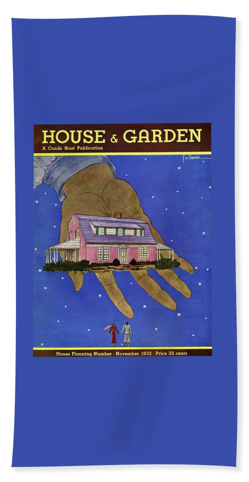 House & Garden Beach Towel featuring the photograph House & Garden Cover Illustration Of A Giant Hand by Georges Lepape