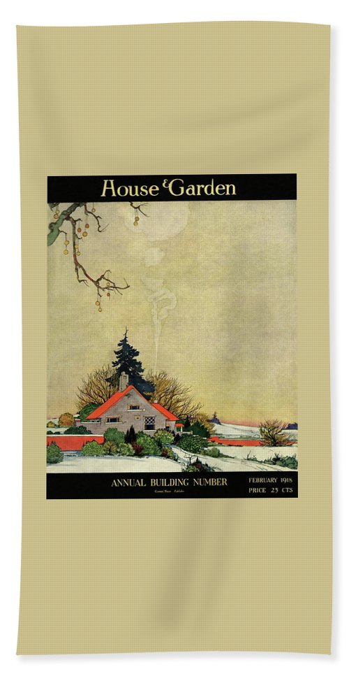House And Garden Beach Towel featuring the photograph House And Garden Annual Building Number Cover by Charles Livingston Bull