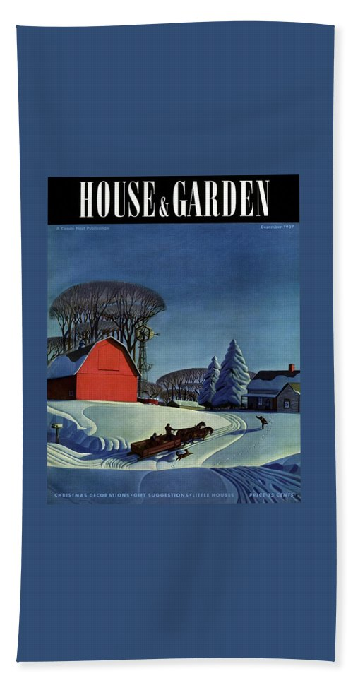 House And Garden Beach Towel featuring the photograph House And Garden Christmas Decoration Cover by Dale Nichols