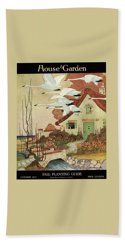 House And Garden Beach Towel featuring the photograph House And Garden Fall Planting Guide by Charles Livingston Bull