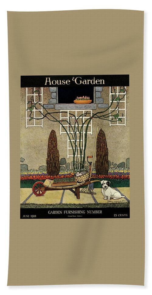 House And Garden Beach Sheet featuring the photograph House And Garden Garden Furnishing Number Cover by Charles Livingston Bull