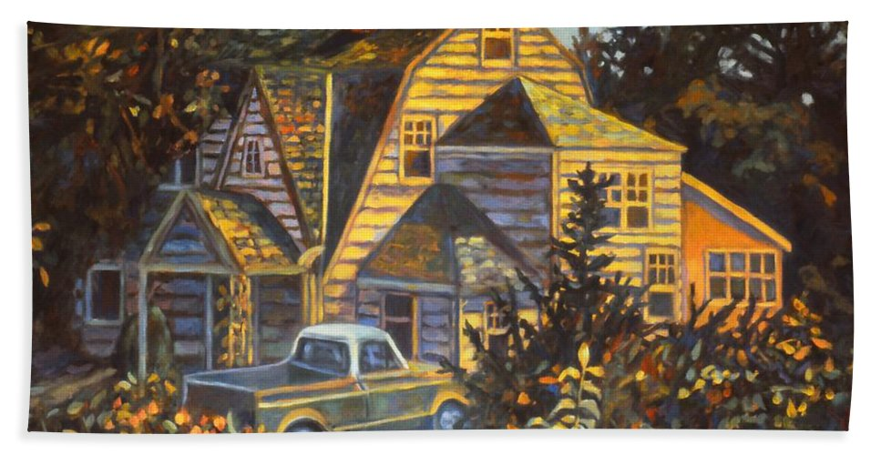 Kendall Kessler Beach Towel featuring the painting House in Christiansburg by Kendall Kessler