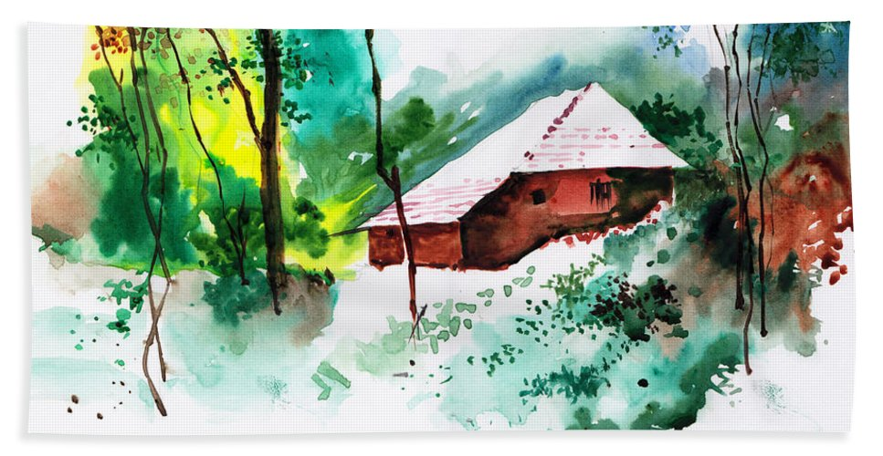 Nature Beach Towel featuring the painting House In Greens 1 by Anil Nene
