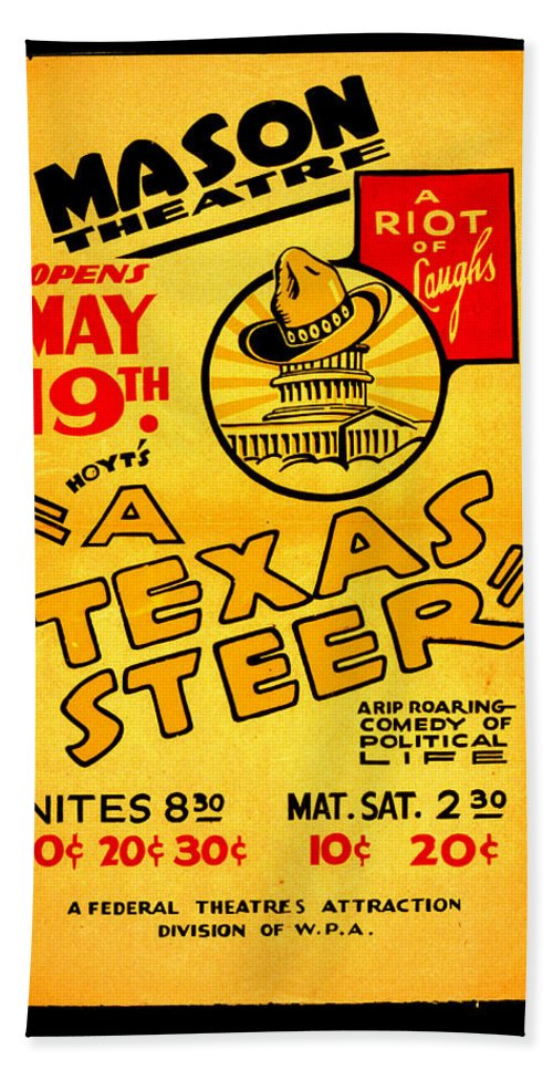 Hoyts A Texas Steer Beach Towel featuring the digital art Hoyts A Texas Steer by Unknown