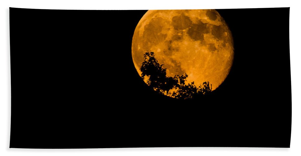 Craters Beach Towel featuring the photograph Harvest Moon by Gaurav Singh