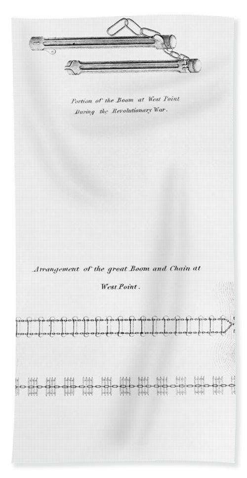 1778 Beach Towel featuring the photograph Hudson River: Chain, C1778 by Granger