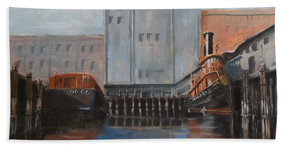 Ny Beach Towel featuring the painting Hudson River Still Life by Christopher Jenkins