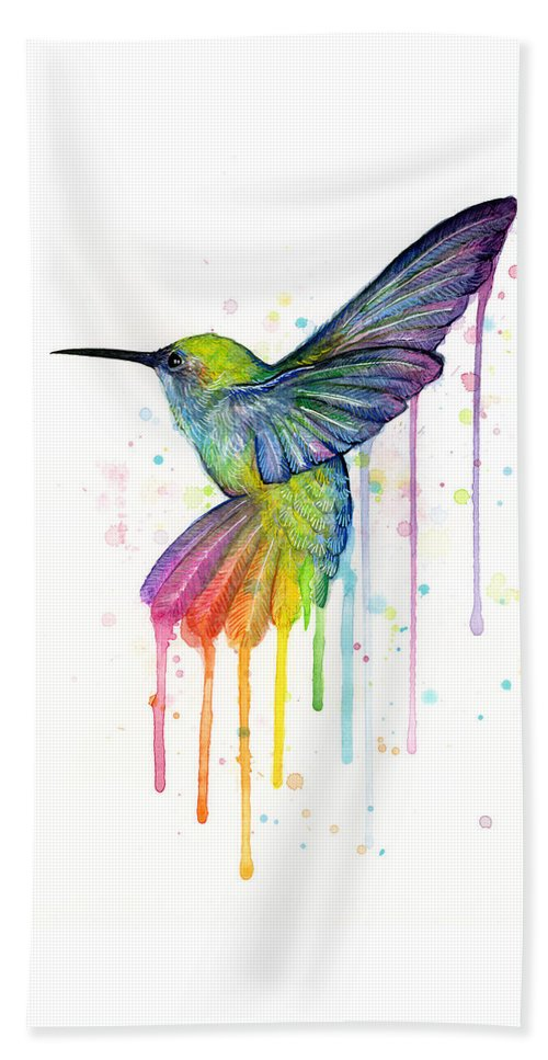 Hummingbird Beach Towel featuring the painting Hummingbird of Watercolor Rainbow by Olga Shvartsur