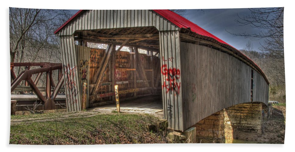 Ohio Beach Towel featuring the photograph Artistic Humpback Covered Bridge by Jack R Perry