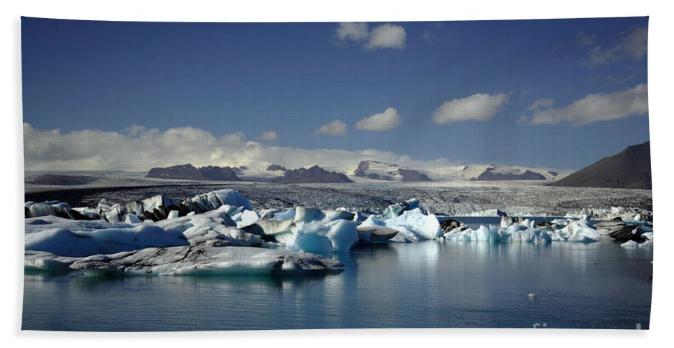 Afloat Beach Towel featuring the photograph Hundreds Of Icebergs by Deborah Benbrook