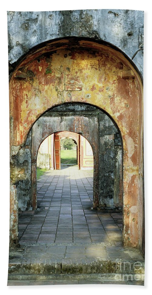 Vietnam Beach Towel featuring the photograph Hung Temple Arches by Rick Piper Photography
