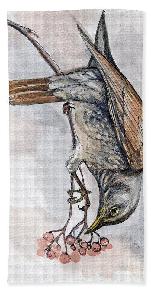 Bird Beach Sheet featuring the painting hungry Thrush 1 by Angel Ciesniarska